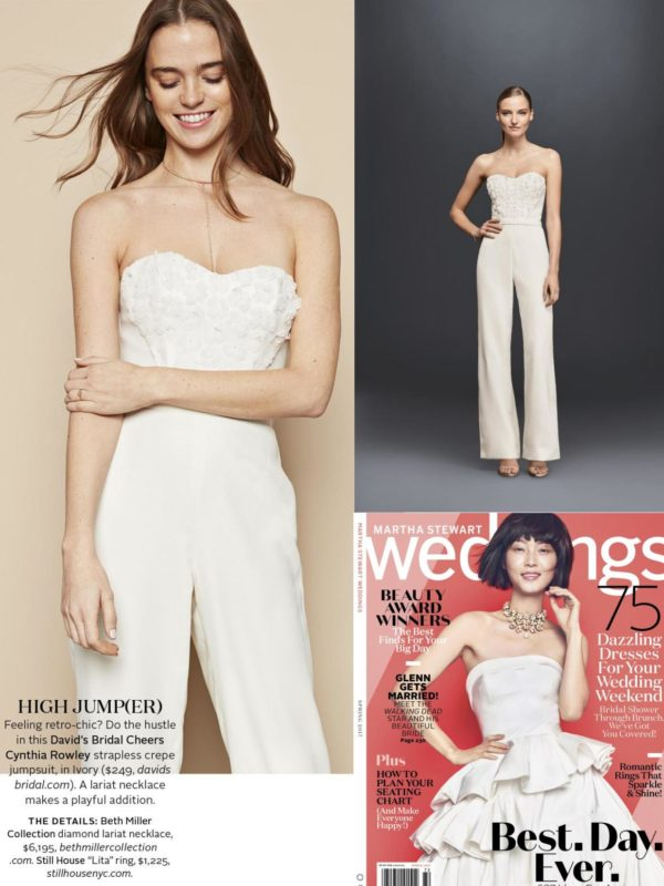 Martha Stewart Weddings clip featuring model in ivory Cheers Cynthia Rowley wedding jumpsuit.