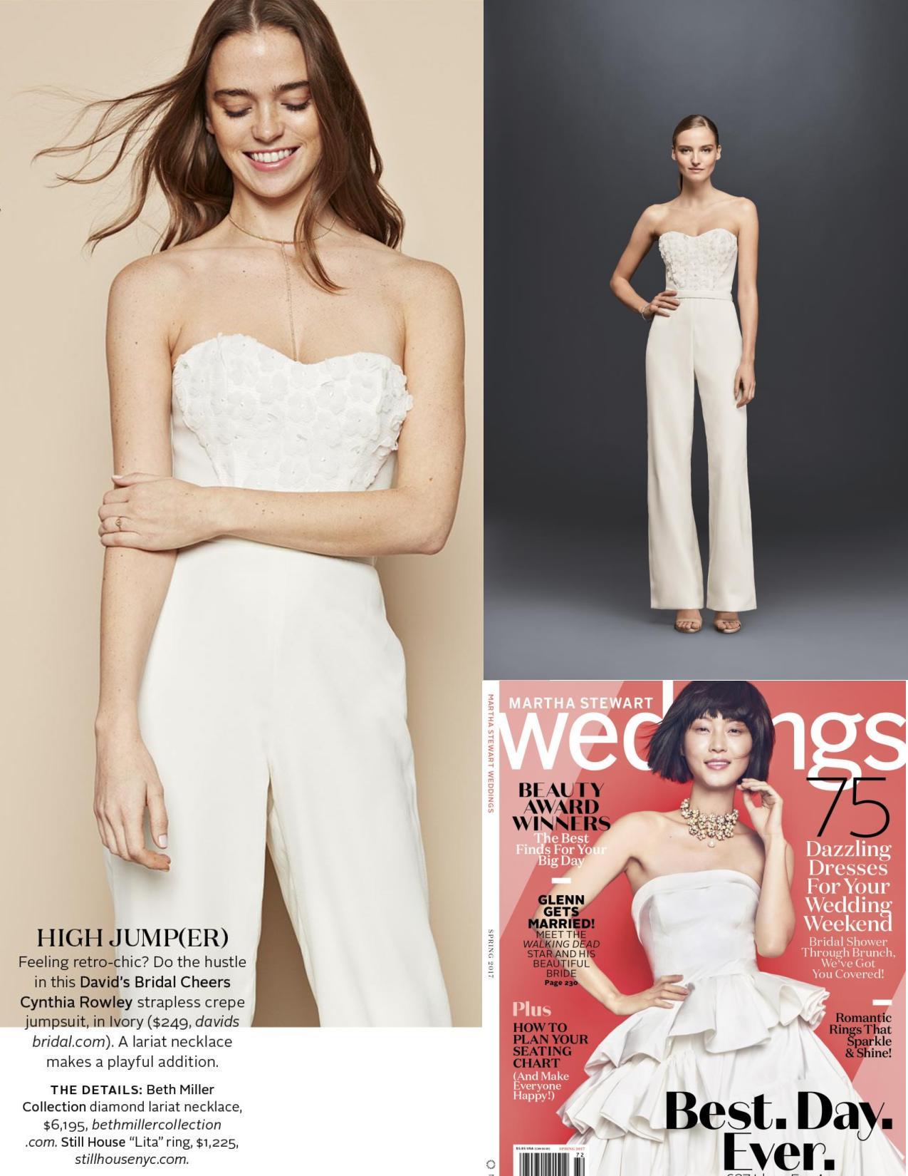 Martha Stewart Weddings clip featuring model in ivory Cheers Cynthia Rowley wedding jumpsuit.