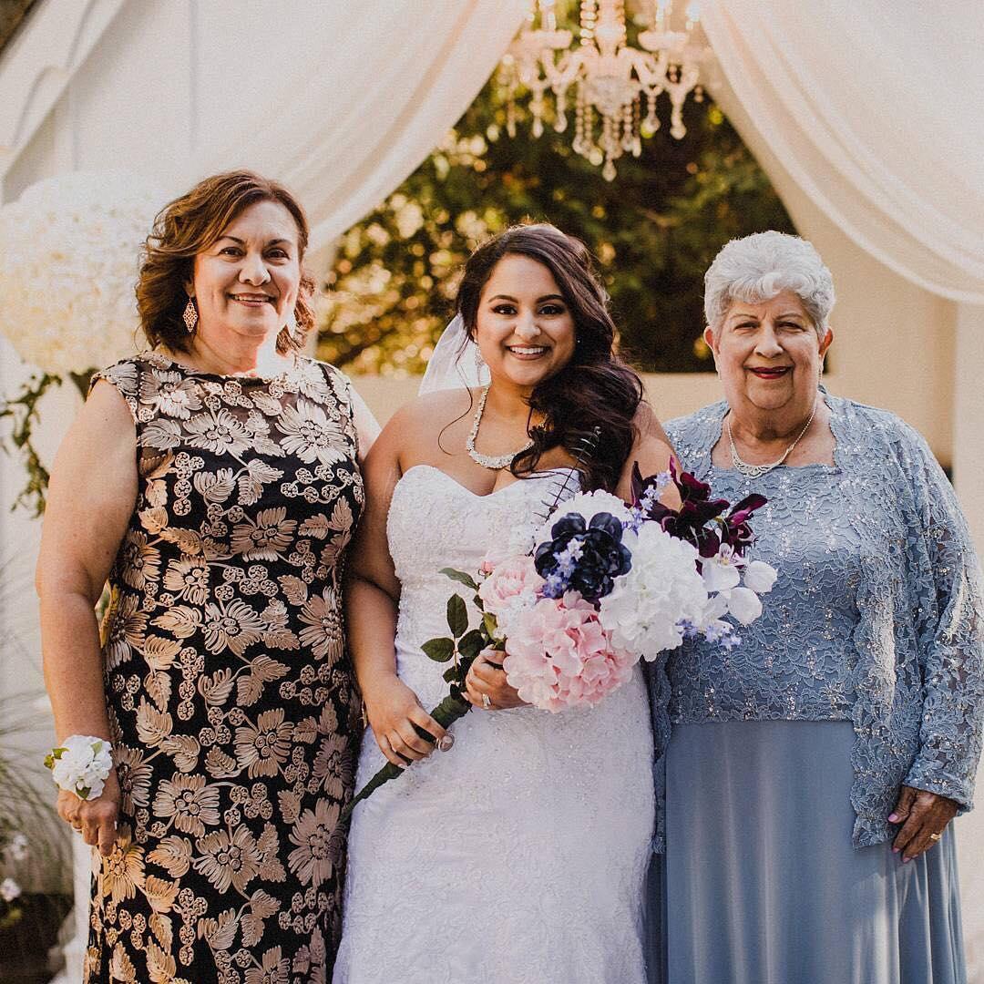 Mom, bride, and grandmom in David's Bridal dresses