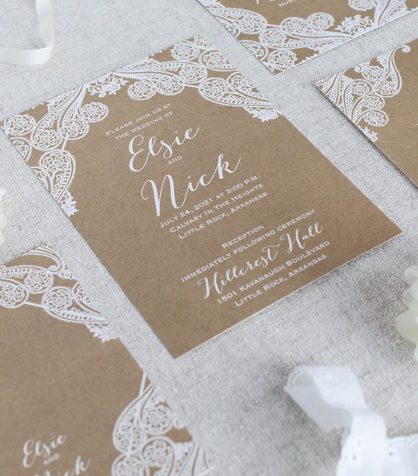 Paisley lace and kraft paper wedding invitation