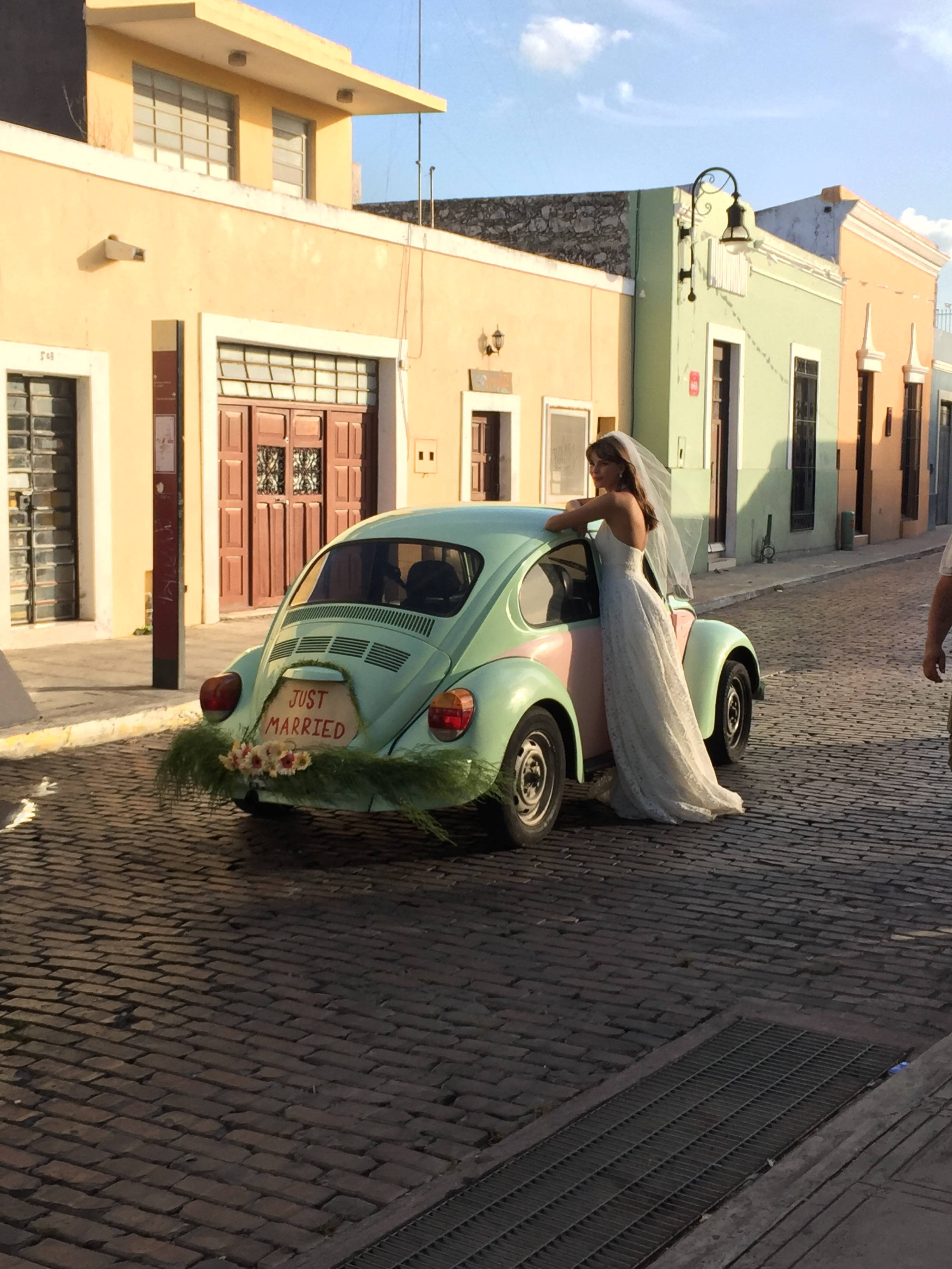 How fun is this pink and green vintage Volkswagen Beetle? See more on the David's Bridal blog - www.davidsbridal.com/blog.