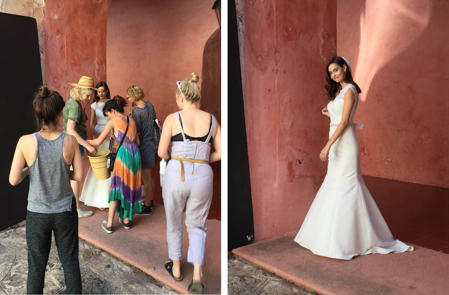 Behind-the-scenes at the Fall 2017 David's Bridal Collection photo shoot featuring a classic satin and illusion lace mermaid wedding dress. See more on the David's Bridal blog - www.davidsbridal.com/blog