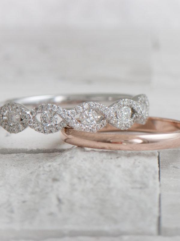 Diamond and rose gold wedding rings