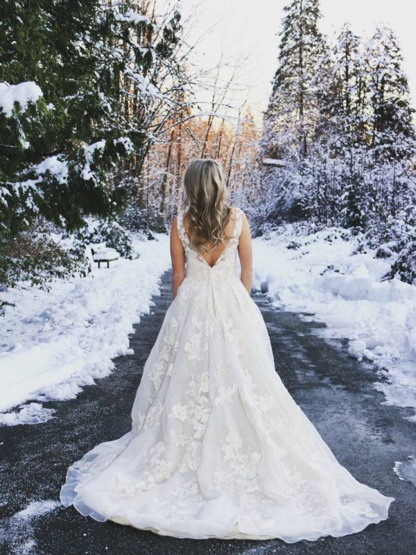 Winter wedding bridal portrait