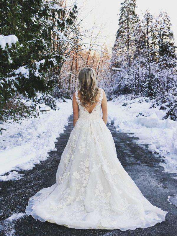 Winter wedding bridal portrait