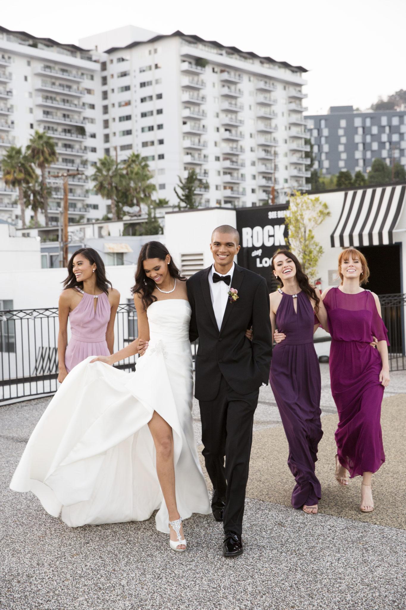 Glamorous wedding party on LA roof