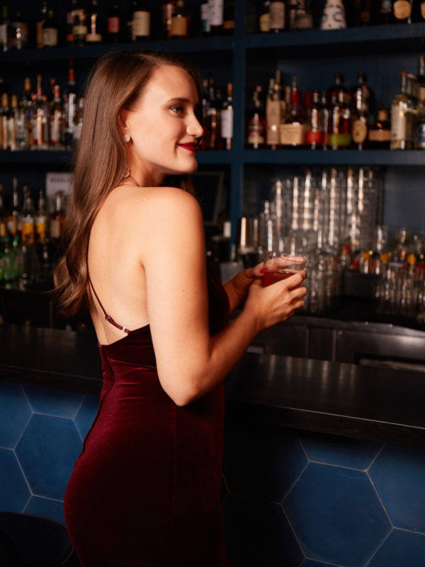 Girl in velvet dress