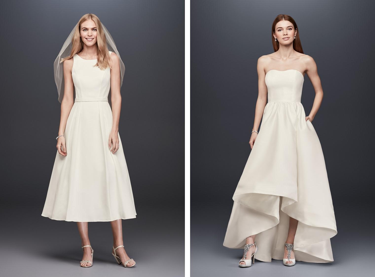 Women modeling short wedding dresses