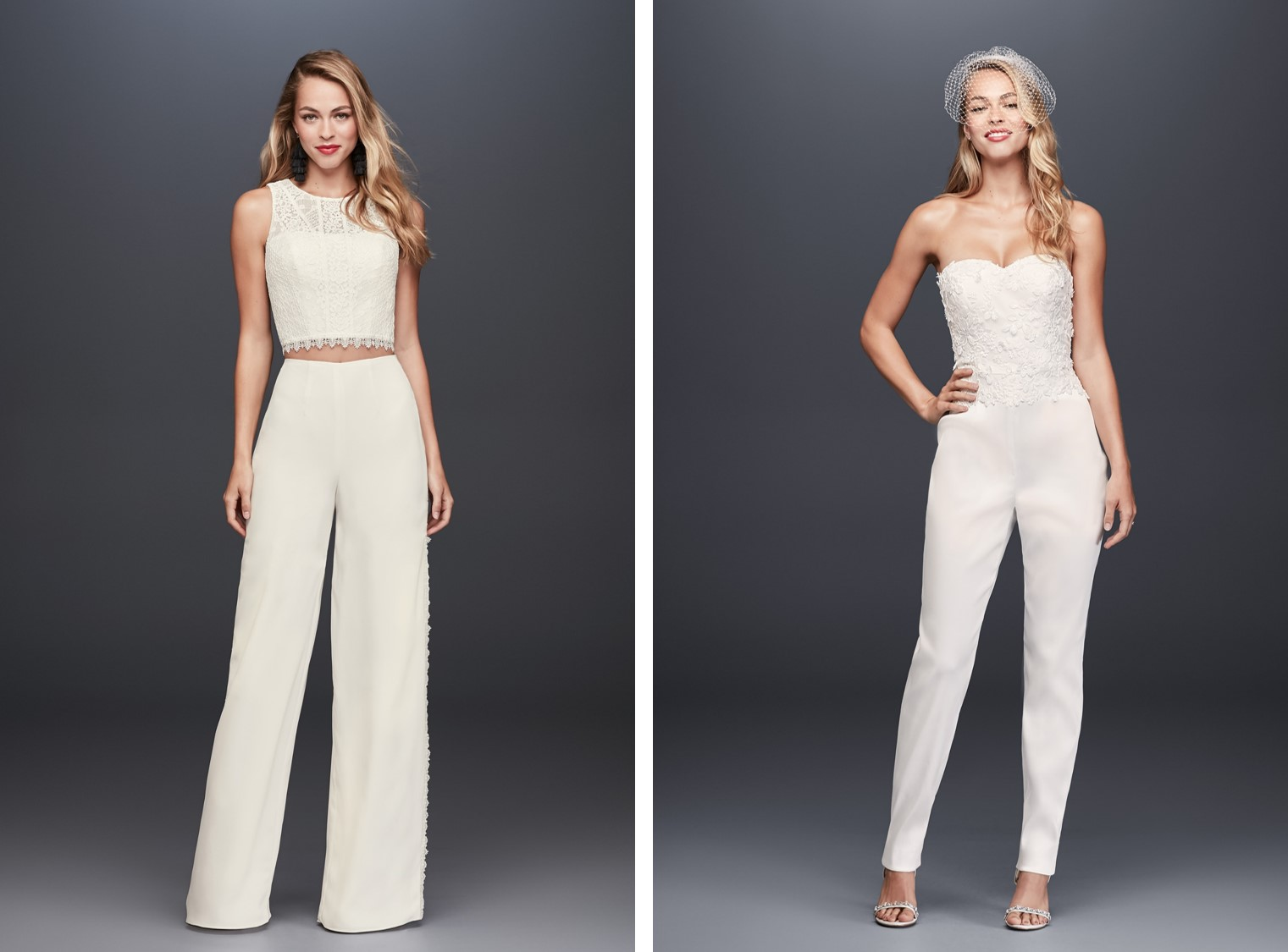 Women modeling bridal jumpsuits