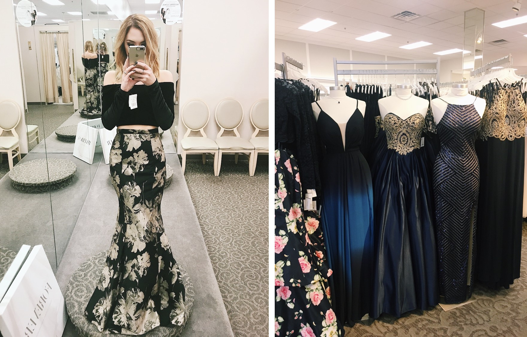 Mirror photo of girl in two piece prom dress and a rack of prom dresses