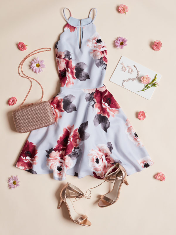 Short floral print halter dress for Spring wedding guests