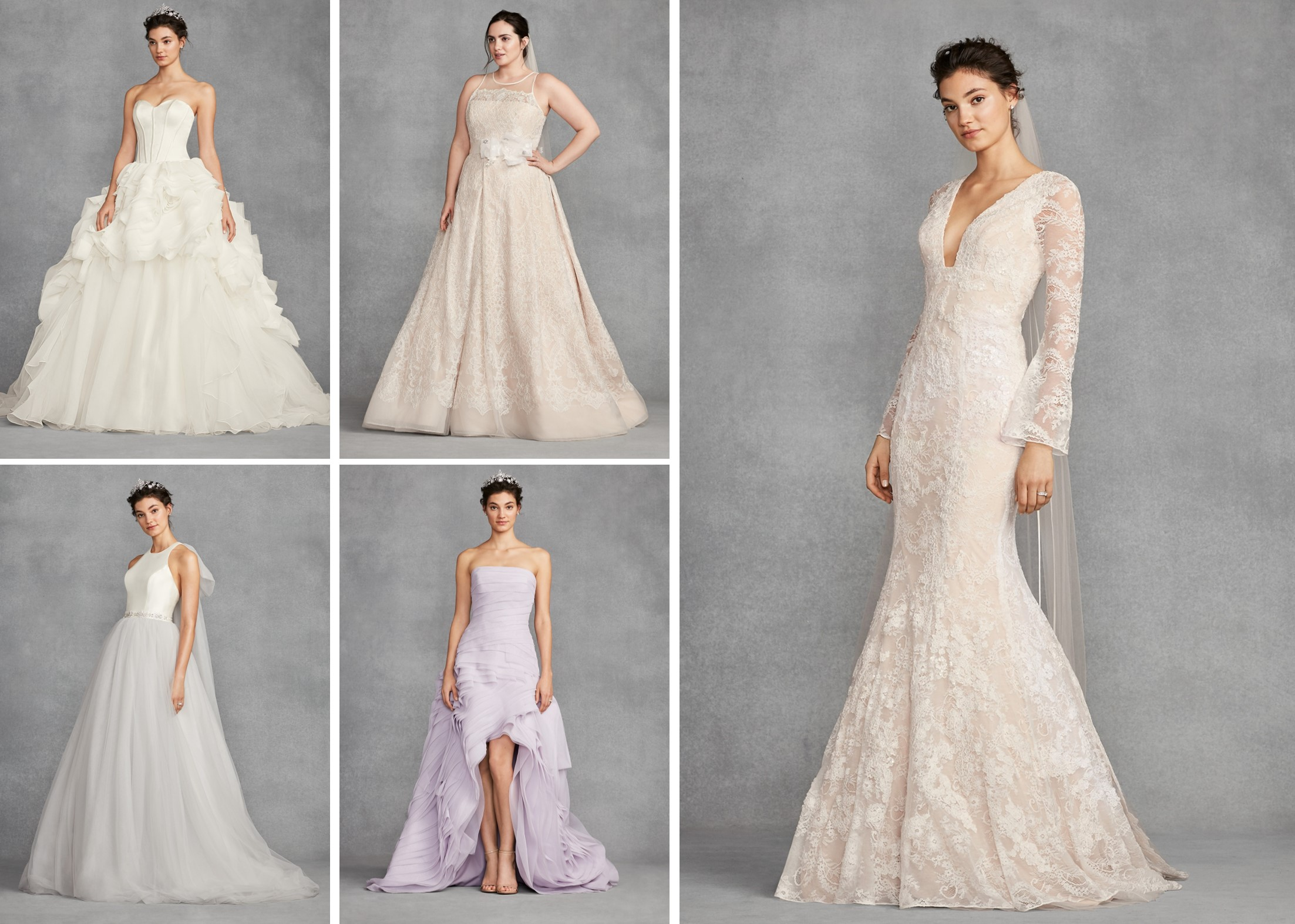 Wedding dresses from WHITE by Vera Wang at David's Bridal.