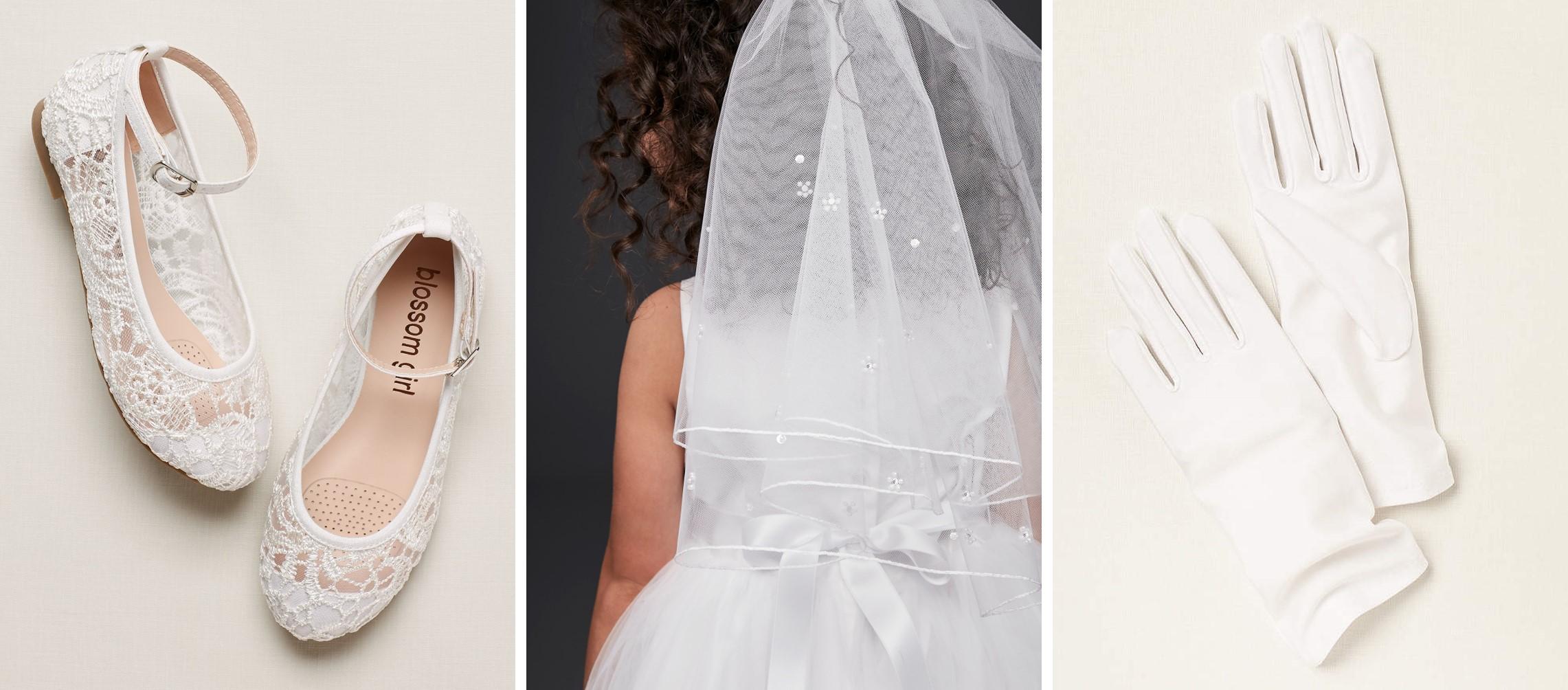 Lace ballet flats, communion veil, and communion gloves