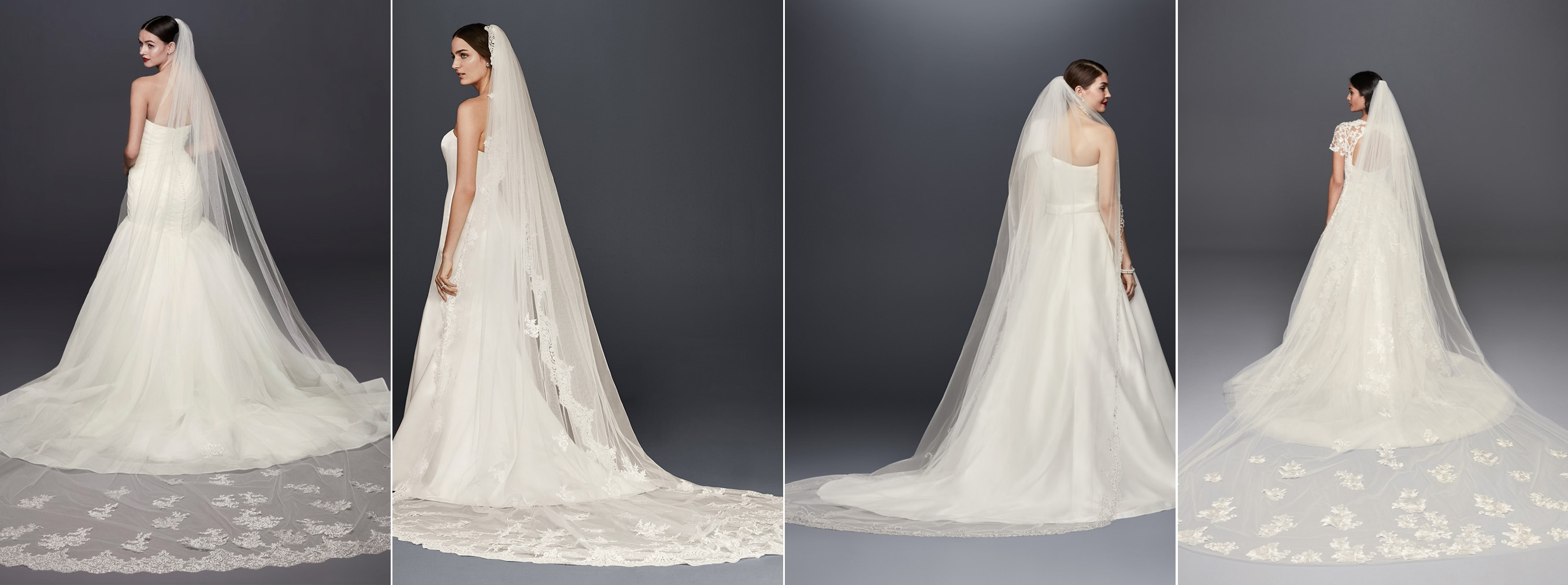 Models in 4 cathedral length Meghan Markle look a like veils