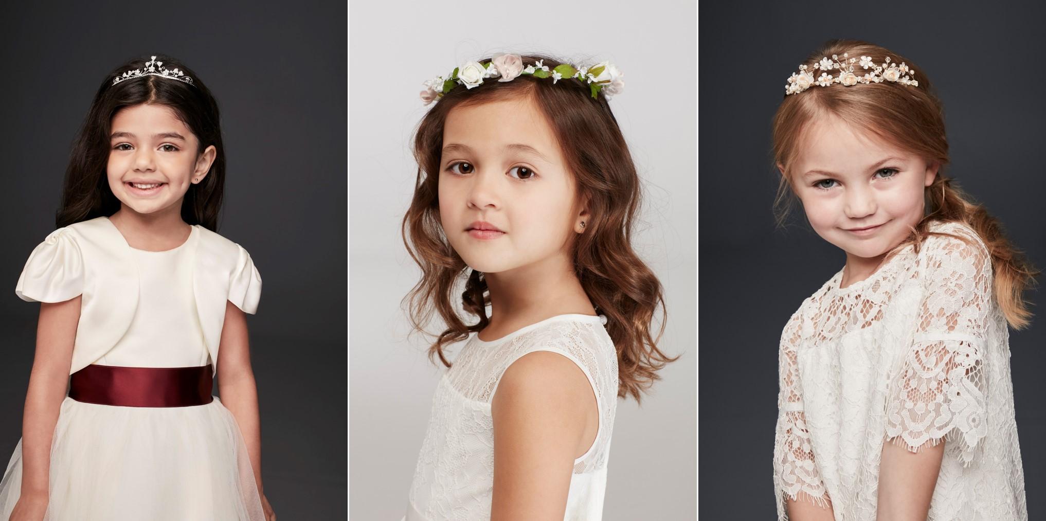 Girls in Meghan Markle look a like flower girl accessories