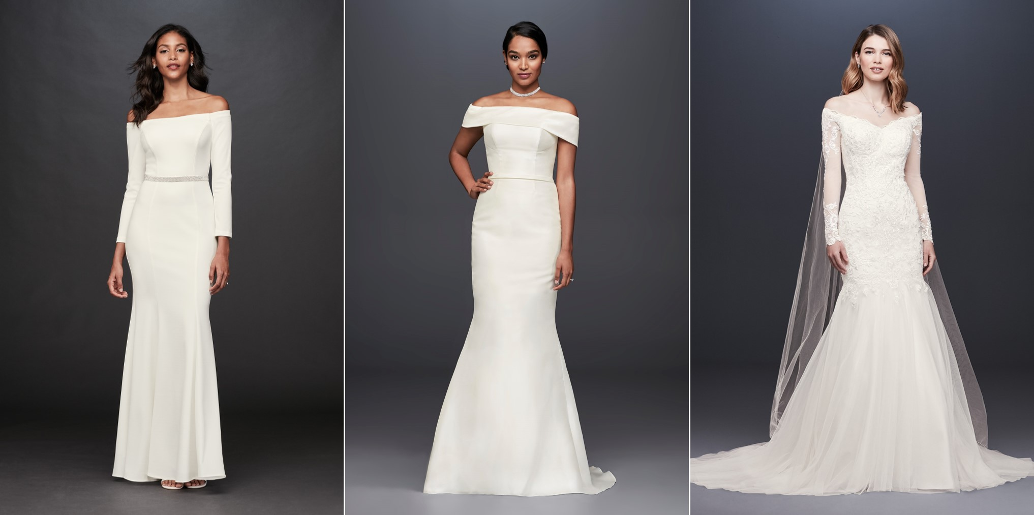 Models in 3 long, white, off-the-shoulder Meghan Markle wedding dress look a likes.