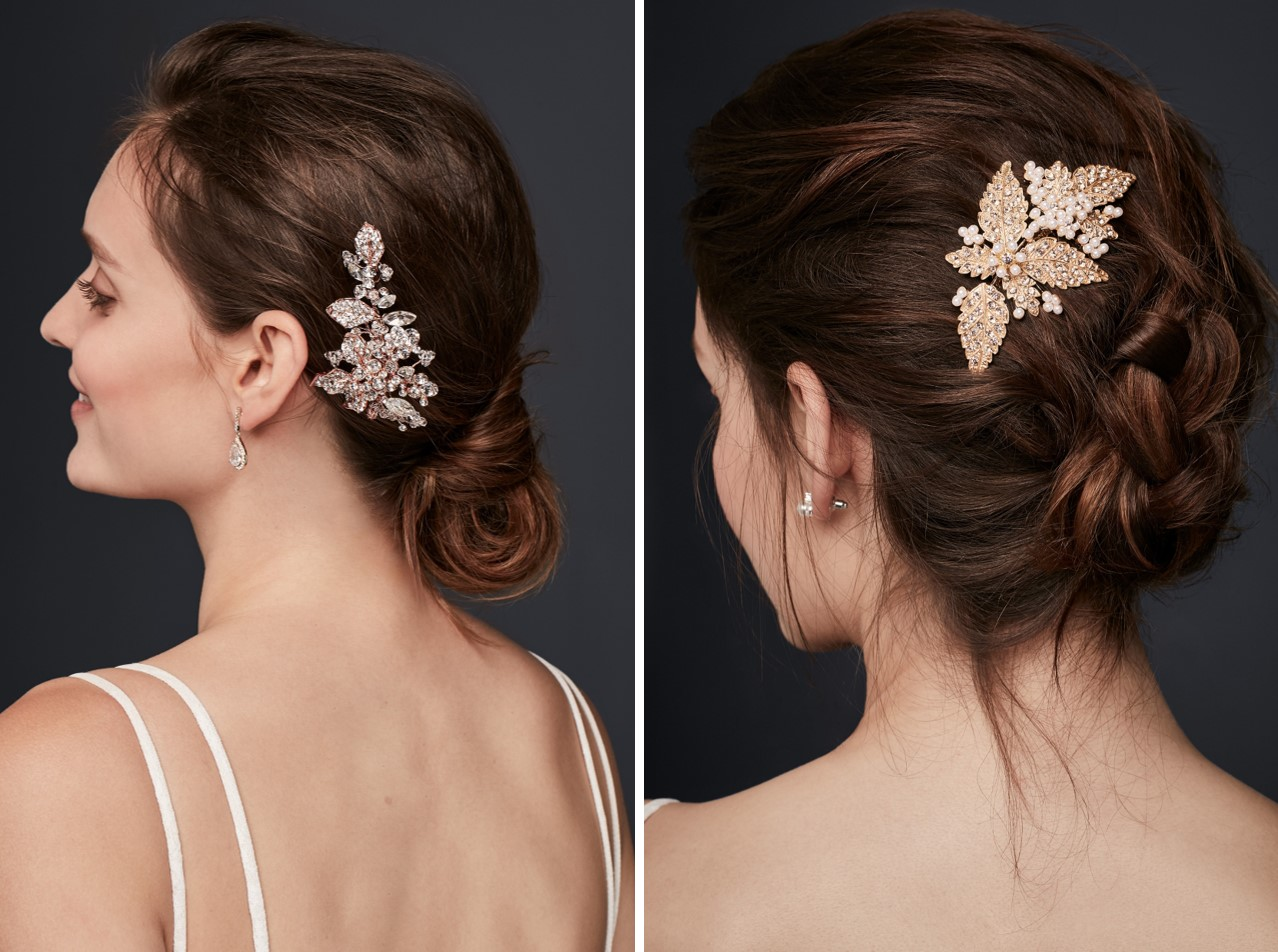 Meghan Markle's signature messy bun is wedding-day ready when you add an embellished comb or clip.
