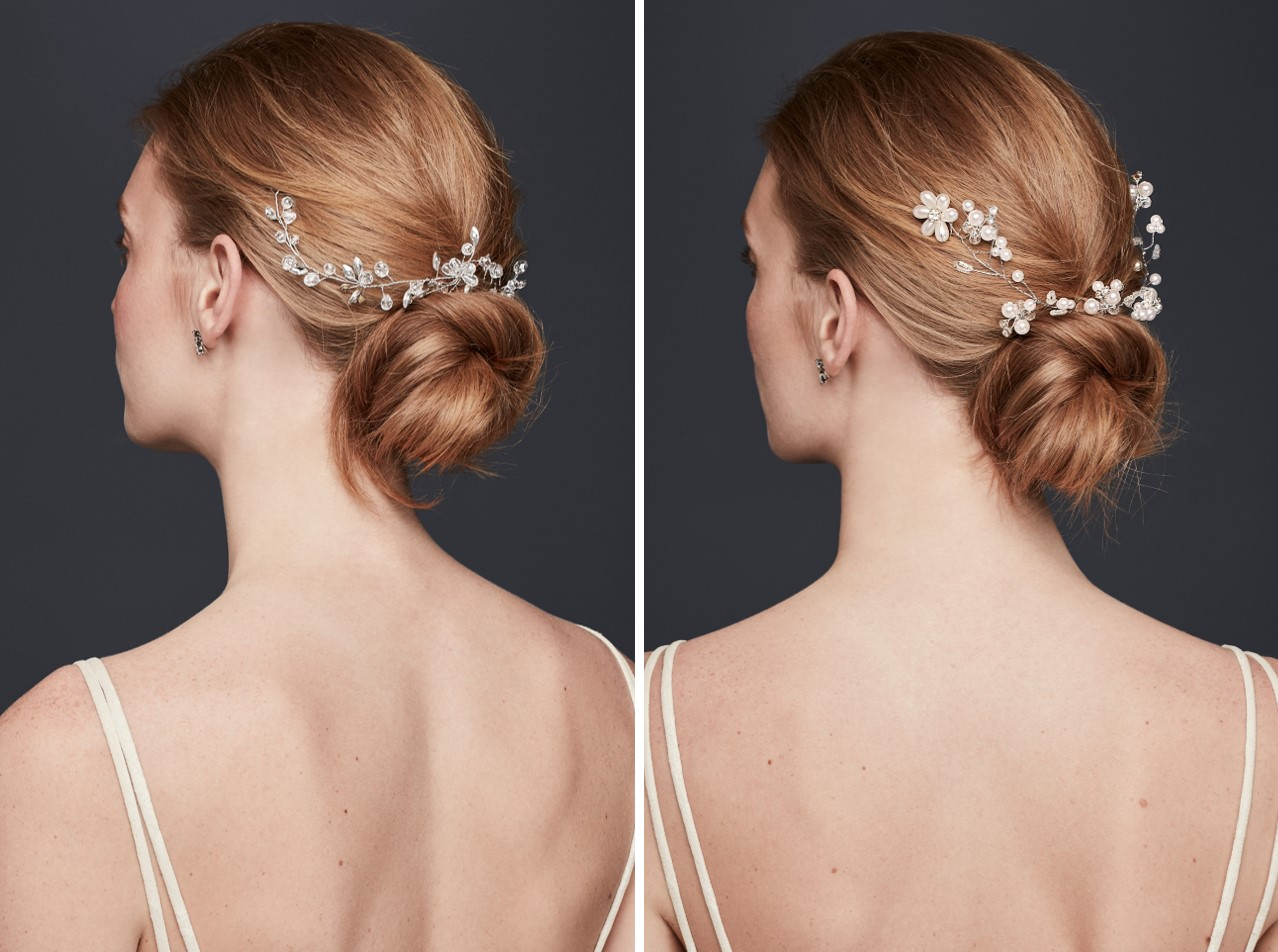 Take Meghan Markle's messy bun and add a hair vine for effortless wedding day sparkle.