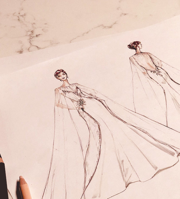 Royal wedding dress prediction sketch.