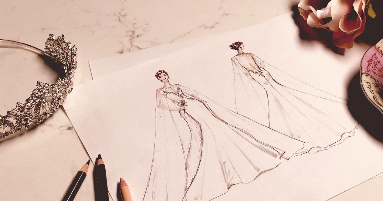 Royal wedding dress prediction sketch.