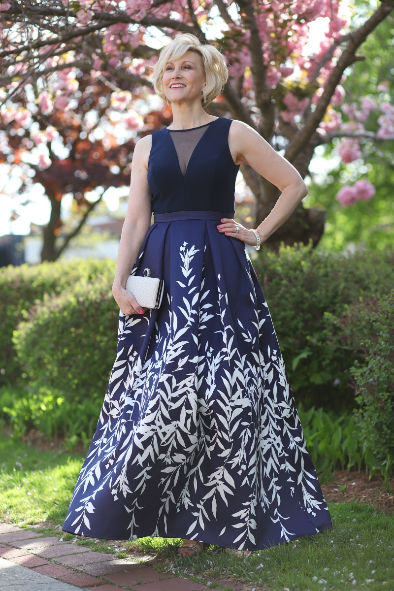 Mother of the Bride in a navy blue dress. Mother of the Bride Dresses for Different Body Types | The David's Bridal Blog