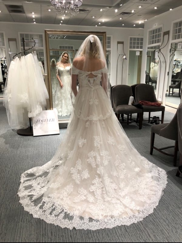 Real bride, model and body positive warrior Carrie Lane shops for her wedding dress at David's Bridal