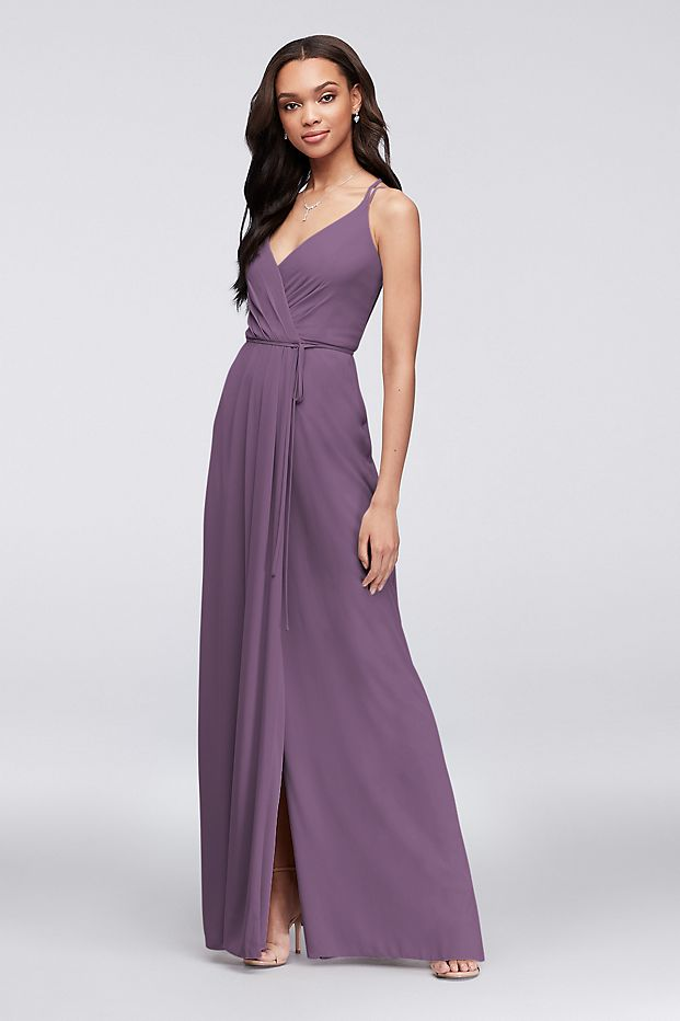 Double-strap long georgette wrap bridesmaid dress.