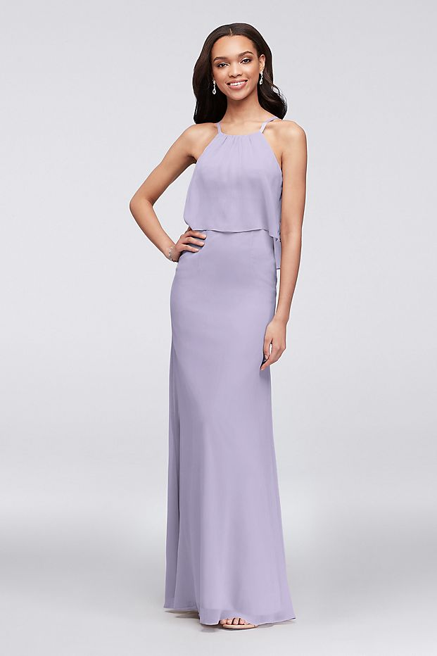 Iris colored flounced crinkle chiffon sheath bridesmaid dress