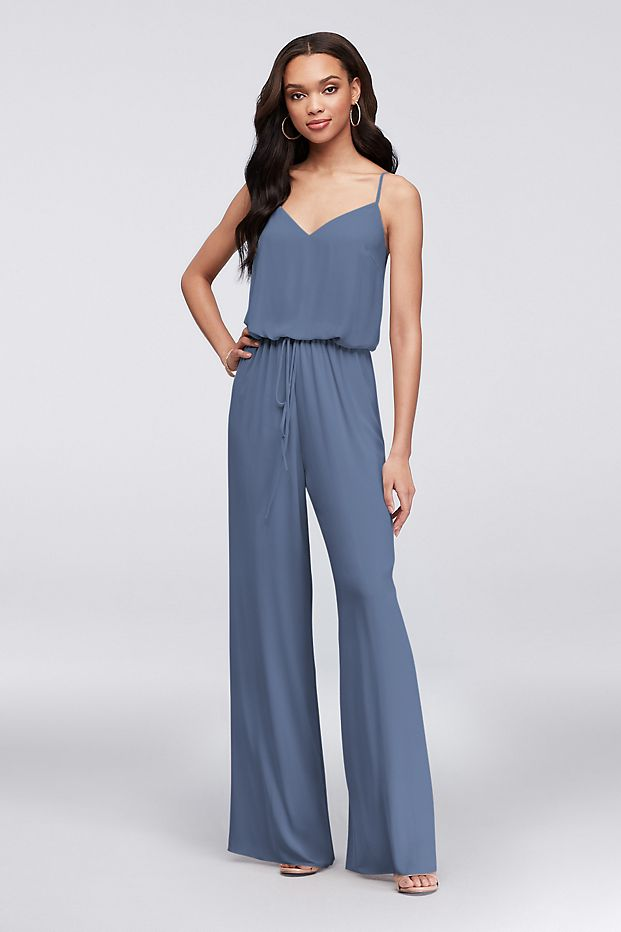 Steel blue flowy wide-leg Georgette bridesmaid jumpsuit