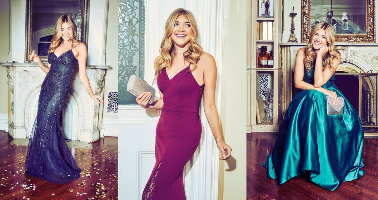 Influencer Katie Sands of Honestly Kate models in David's Bridal's Holiday 2018 campaign