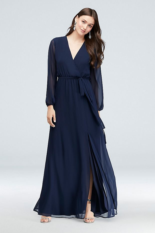 Navy long sleeve faux wrap bridesmaid dress