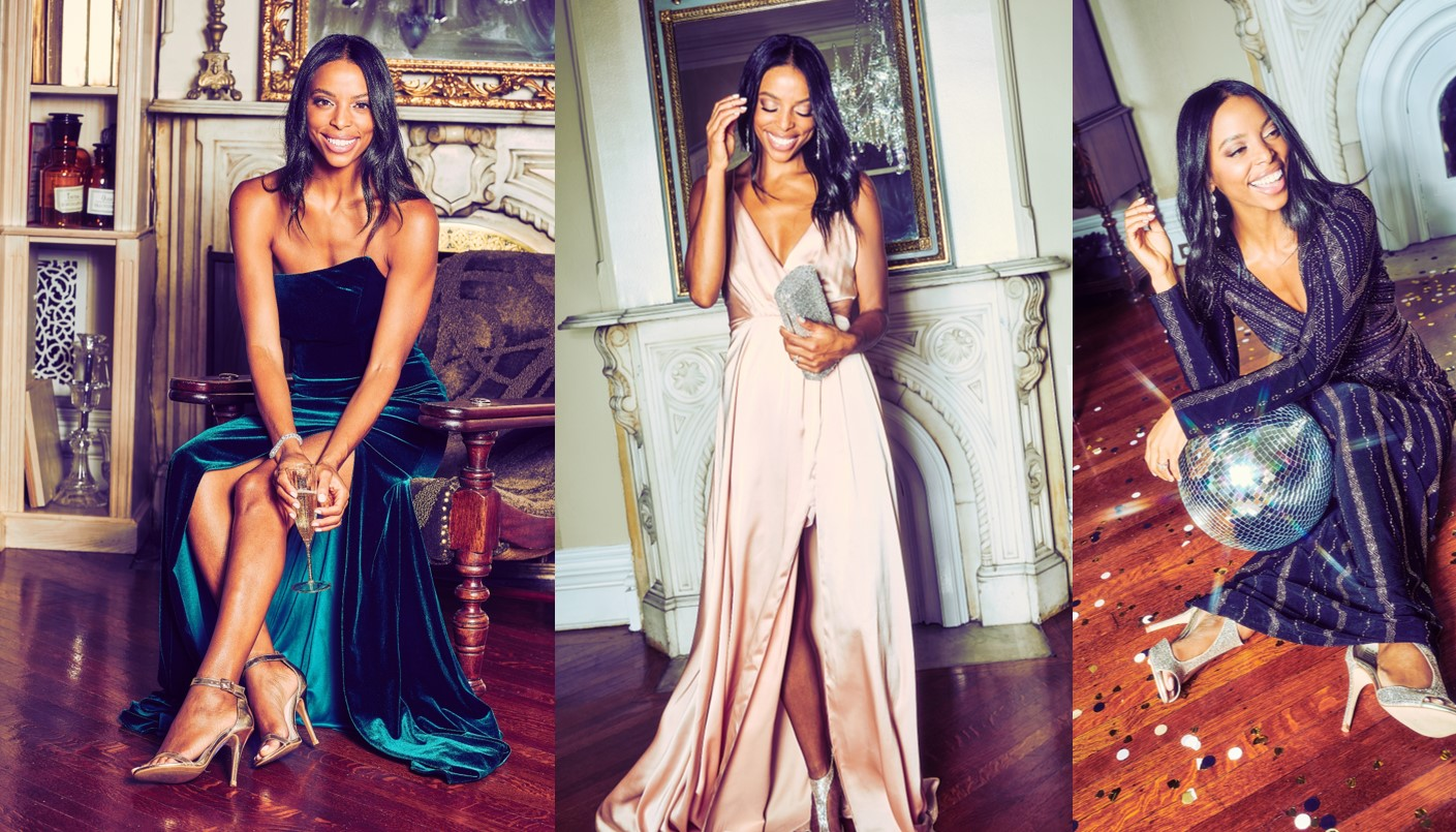 Influencer Janelle Lloyd of Wait, You Need This models in David's Bridal's Holiday 2018 campaign
