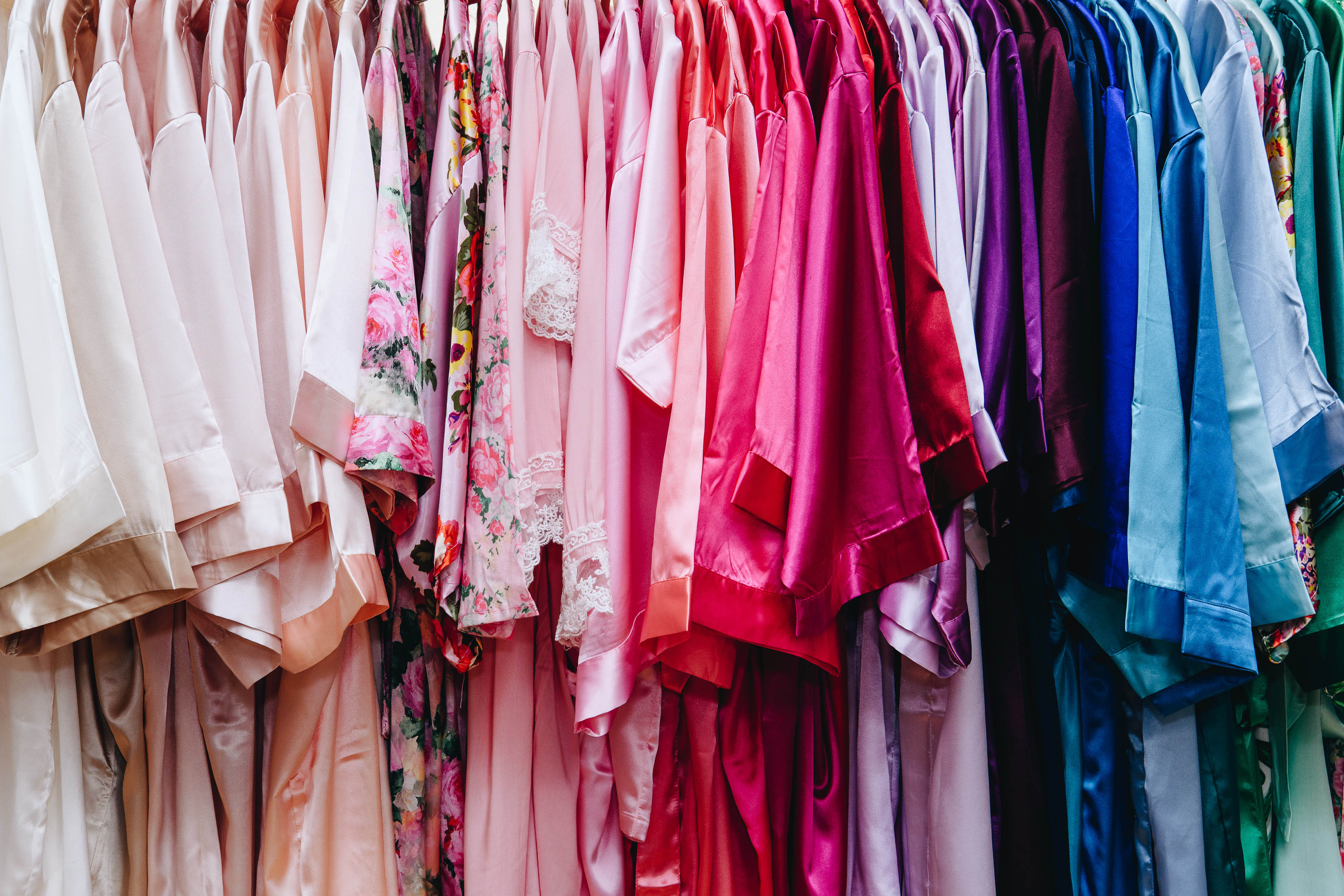 Bridal party robes in a rainbow of colors from David's Bridal