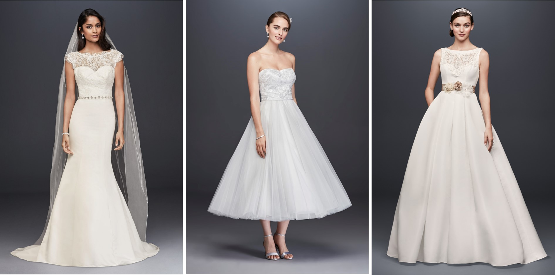 Three wedding dresses on sale during David's Bridal's President's Day Weekend Sale: a trumpet wedding dress with illusion lace neckline and cap sleeves, a strapless tea-length wedding dress with floral bodice and tulle skirt, and a boat neck ball gown with illusion lace neckline