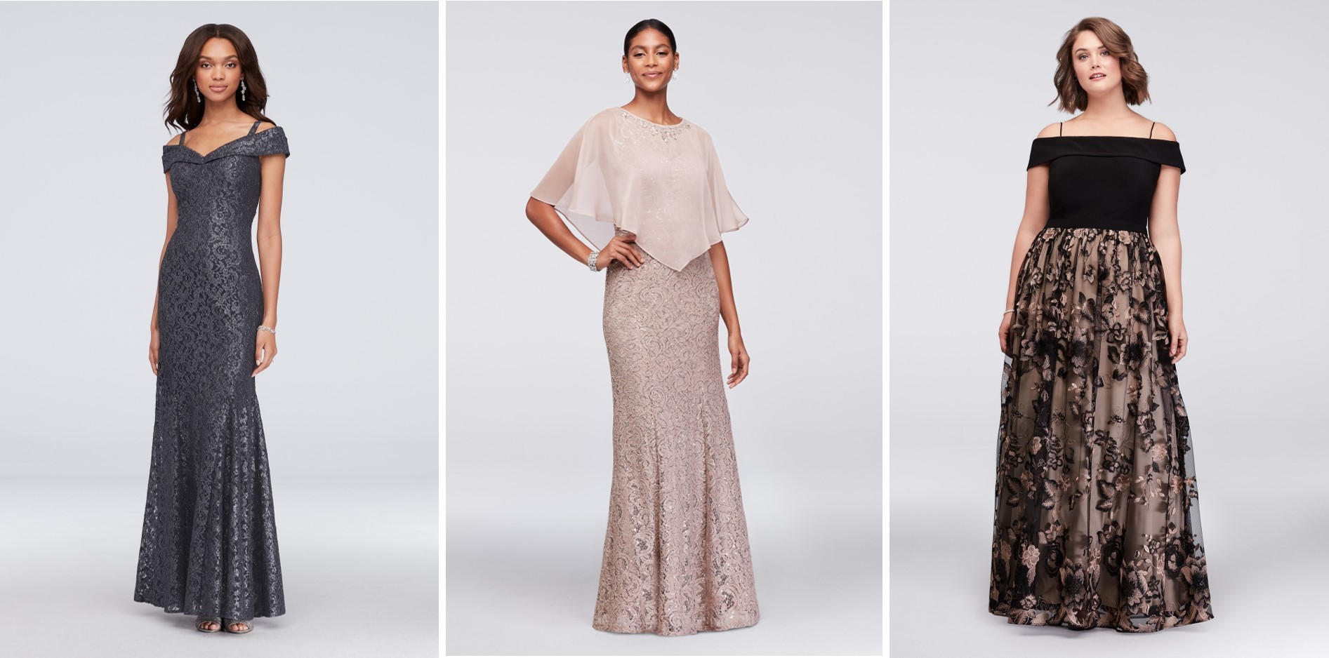 Three mother of the bride dresses on sale during David's Bridal's President's Day Weekend Sale: long dark grayoff-the-shoulder metallic lace dress, long blush colored lace dress with chiffon topper, long off-the-shoulder dress with black jersey top and black and nude floral applique skirt
