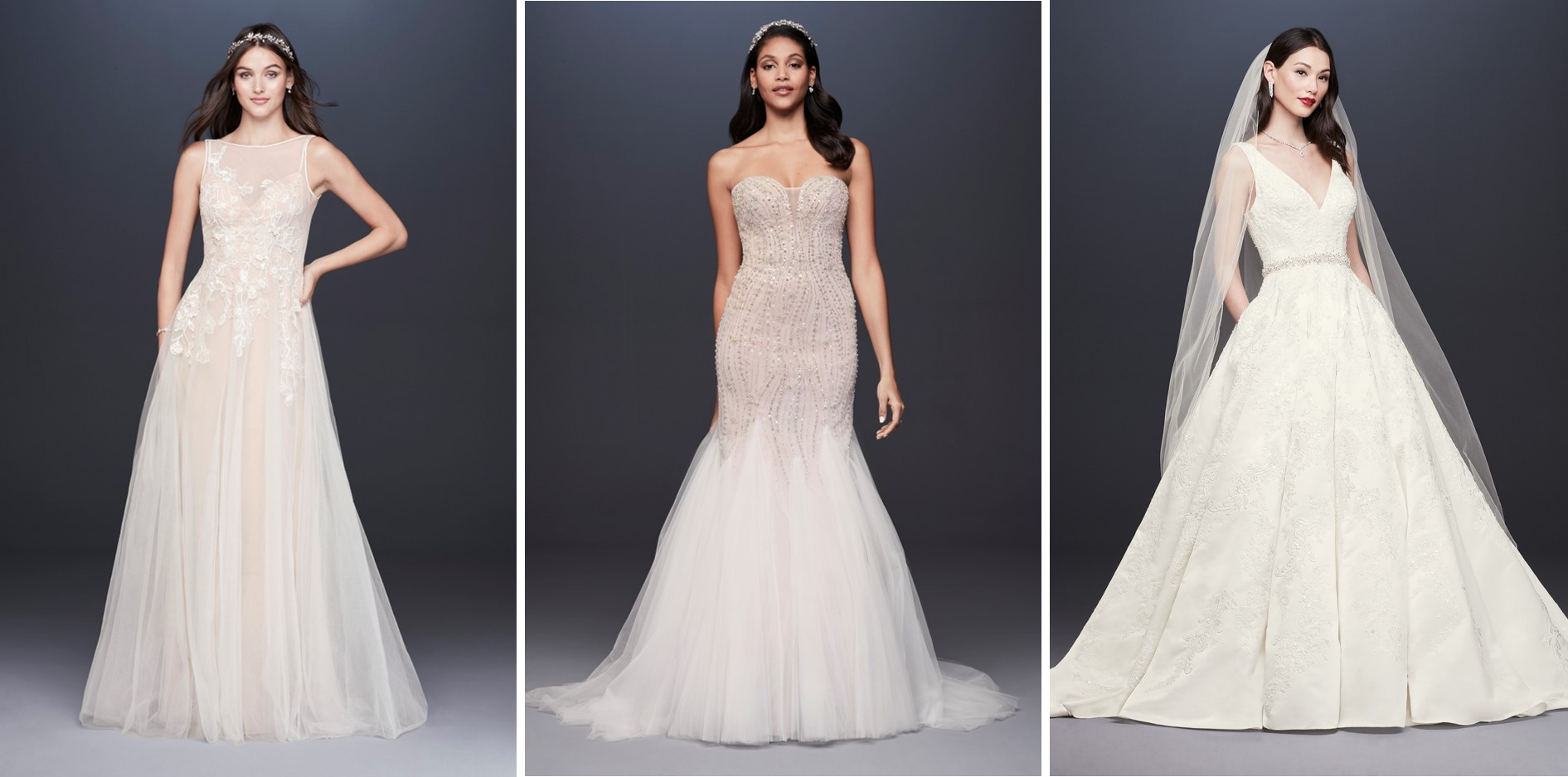 Three wedding dresses on sale during David's Bridal's President's Day Weekend Sale: tulle wedding dress with floral bodice and illusion neckline, strapless trumpet wedding dress with elaborate crystal beading, and a floral embossed V-beck ball gown.