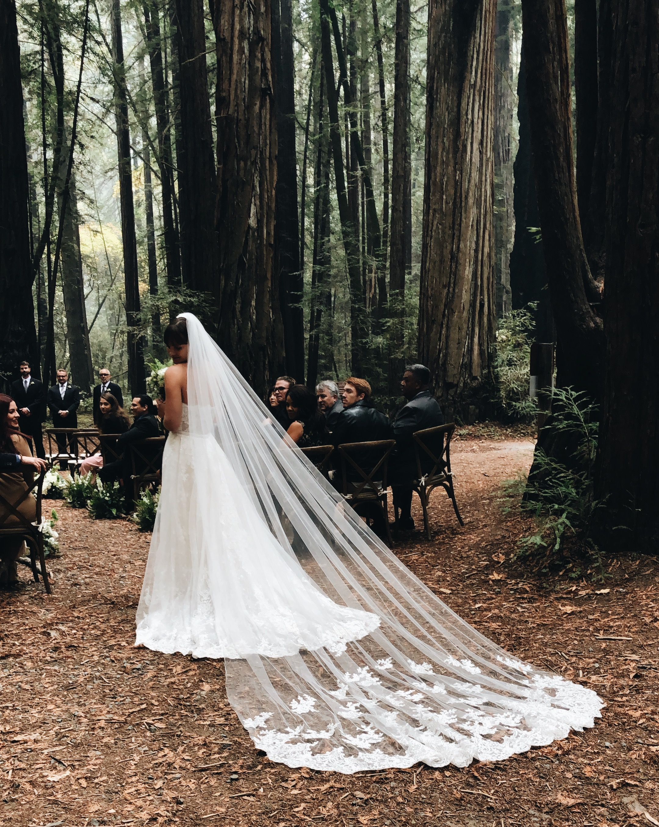 Bride in Forest wearing a Cathedral Lace Veil   Insta-Worthy Veils