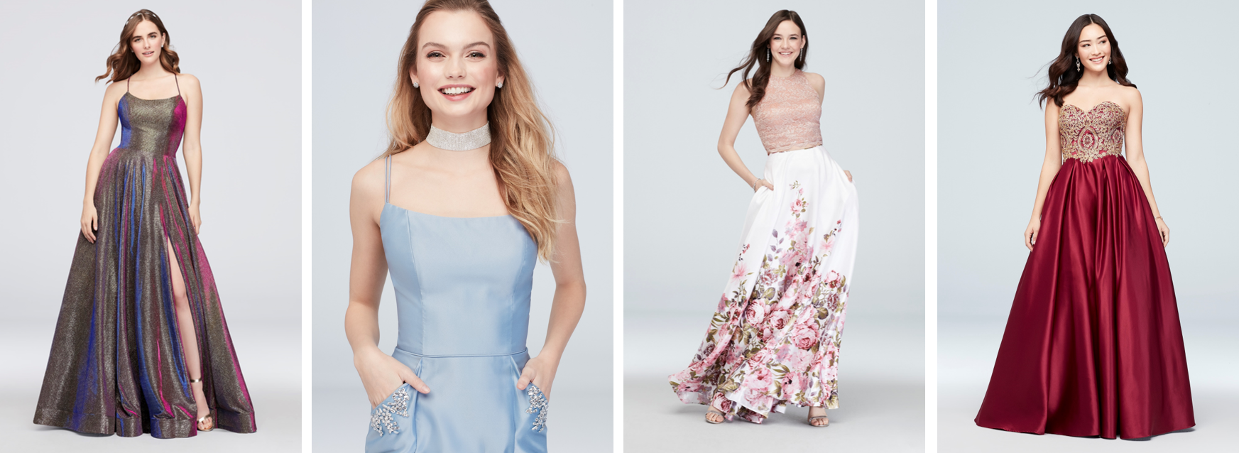 Four girls smiling in prom dresses with pockets of various colors and styles