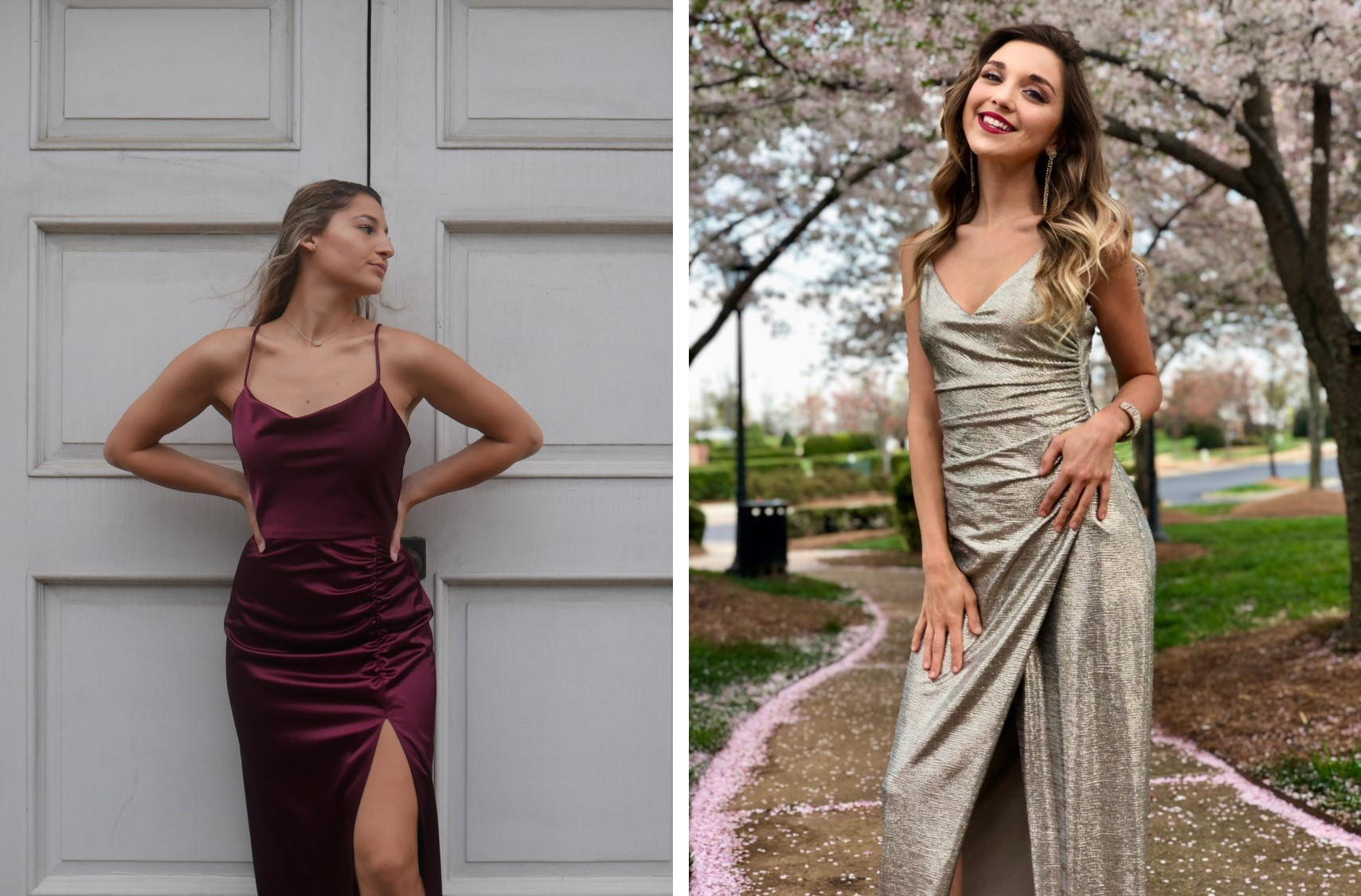Two college aged girls in slinky sheath silhouette dresses