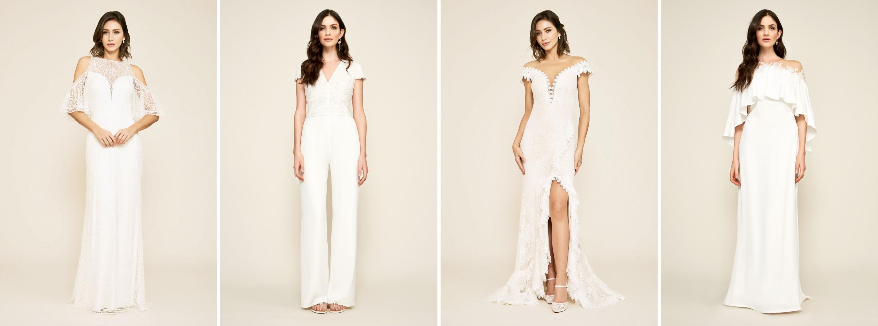 Models wearing long white bohemian wedding dresses by Tadashi Shoji at David's Bridal