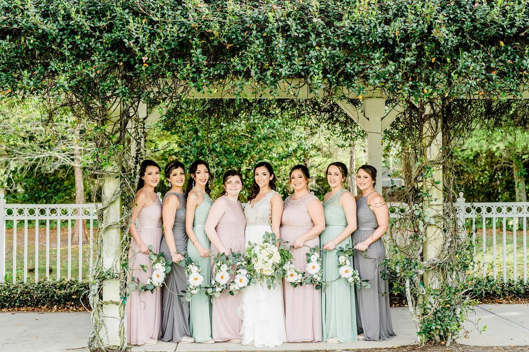 Bridesmaids holding floral wreaths or hoop bouquets | Nontraditional Wedding Bouquet Ideas