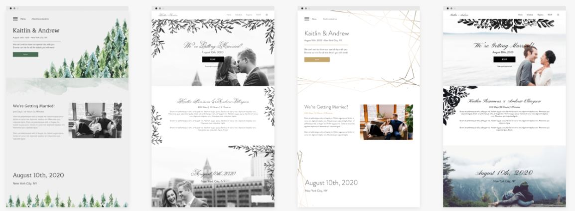 Four wedding website design templates.