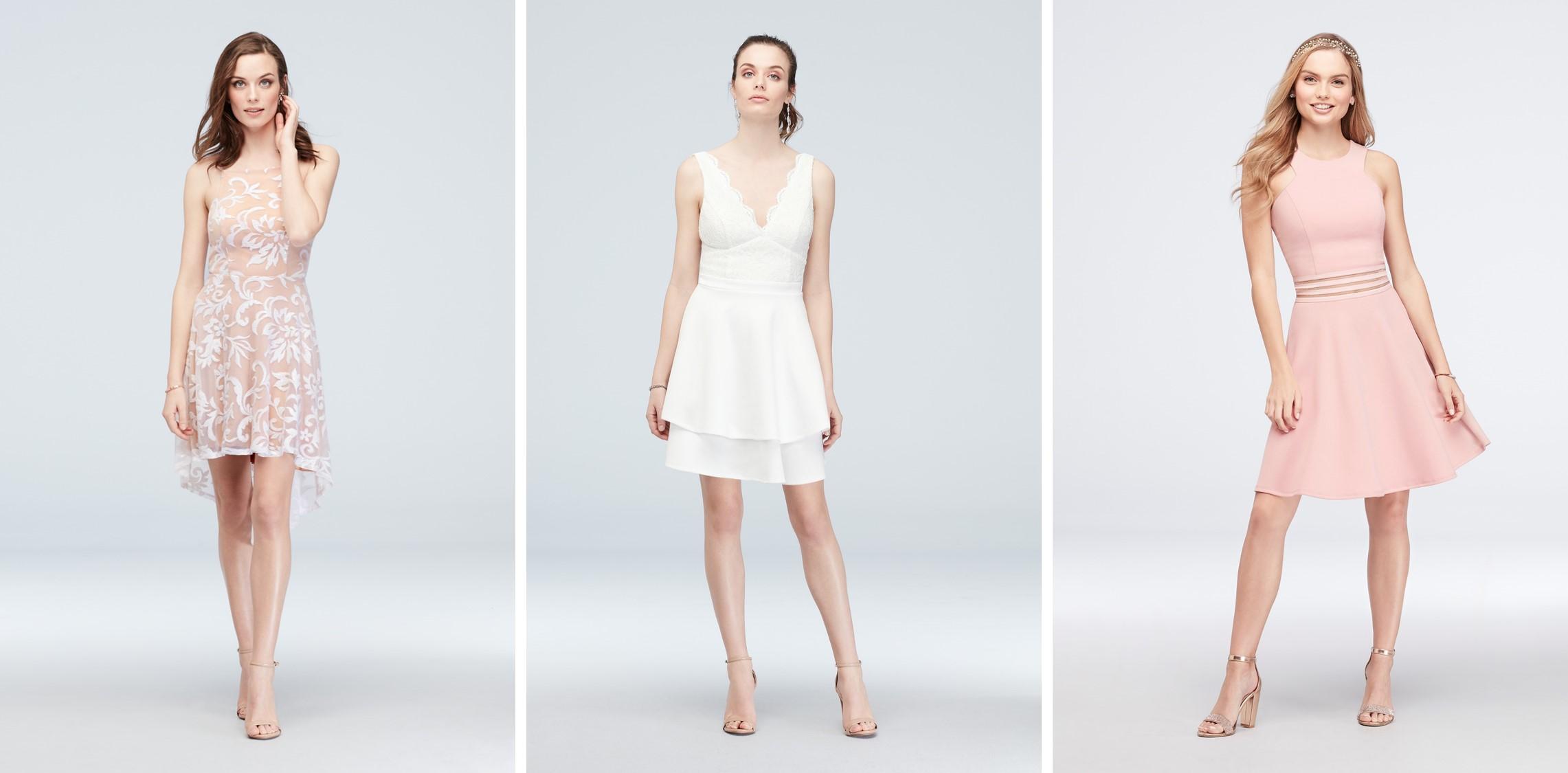 3 models in short white or floral print graduation dresses for 2019