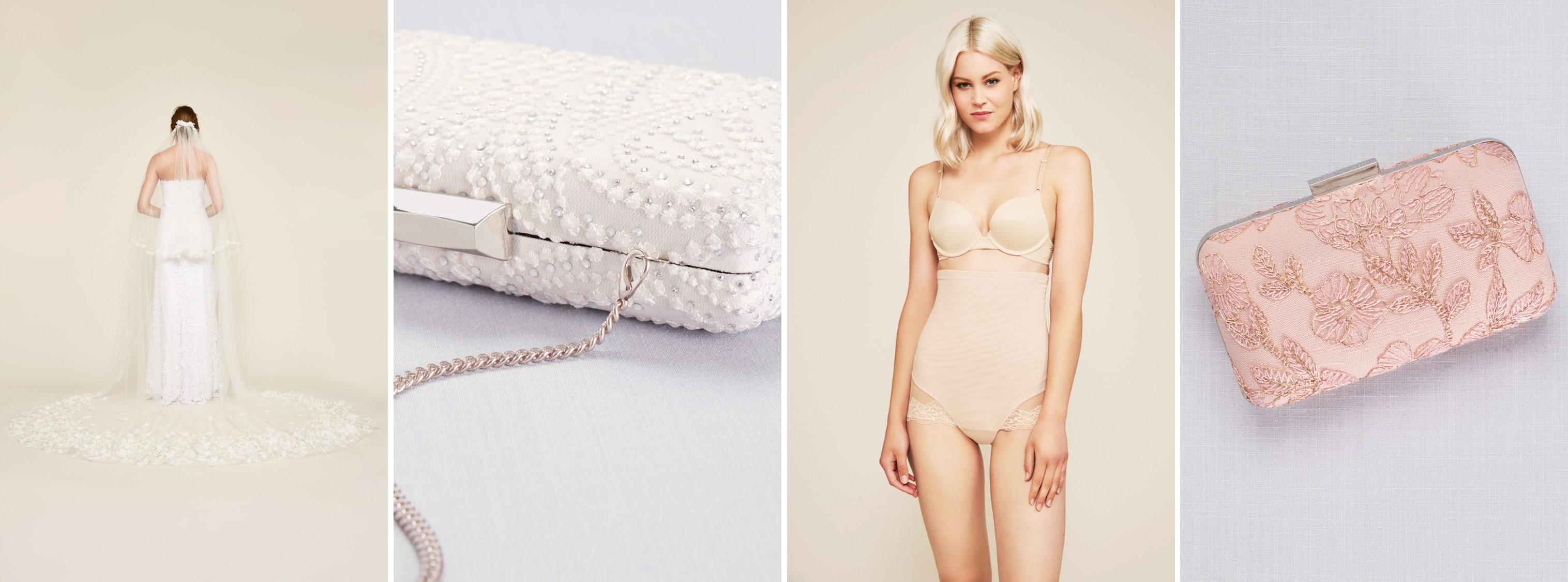 Veil, handbags, and shapewear by Tadashi Shoji available at David's Bridal