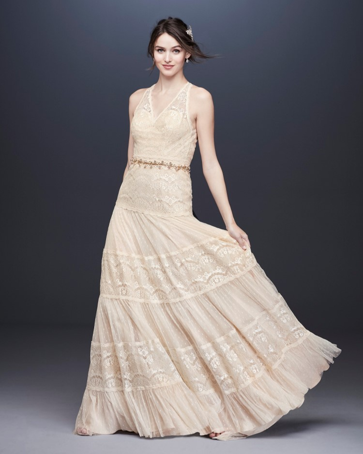 Bride in tank v-neck lace and point d'esprit wedding dress from David's Bridal's affordable wedding dresses assortment