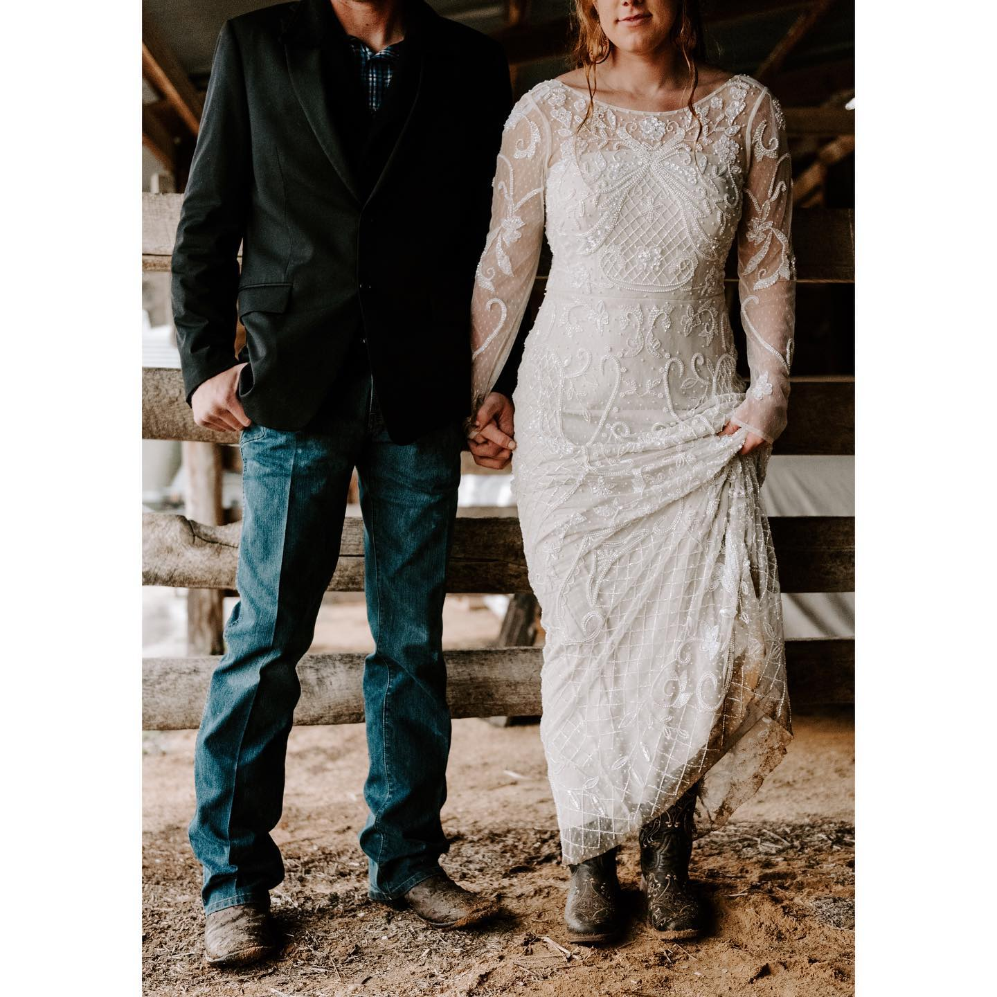 bride and groom wearing cowboy boots