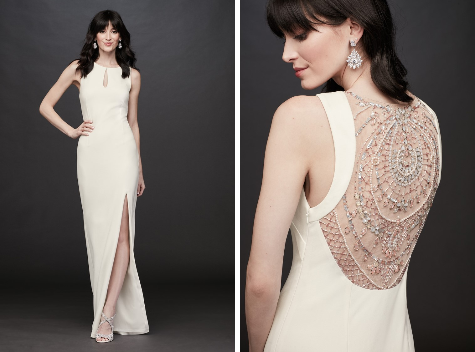 Bride in long white high-neck dress with beaded back details | After-party dresses from David's Bridal