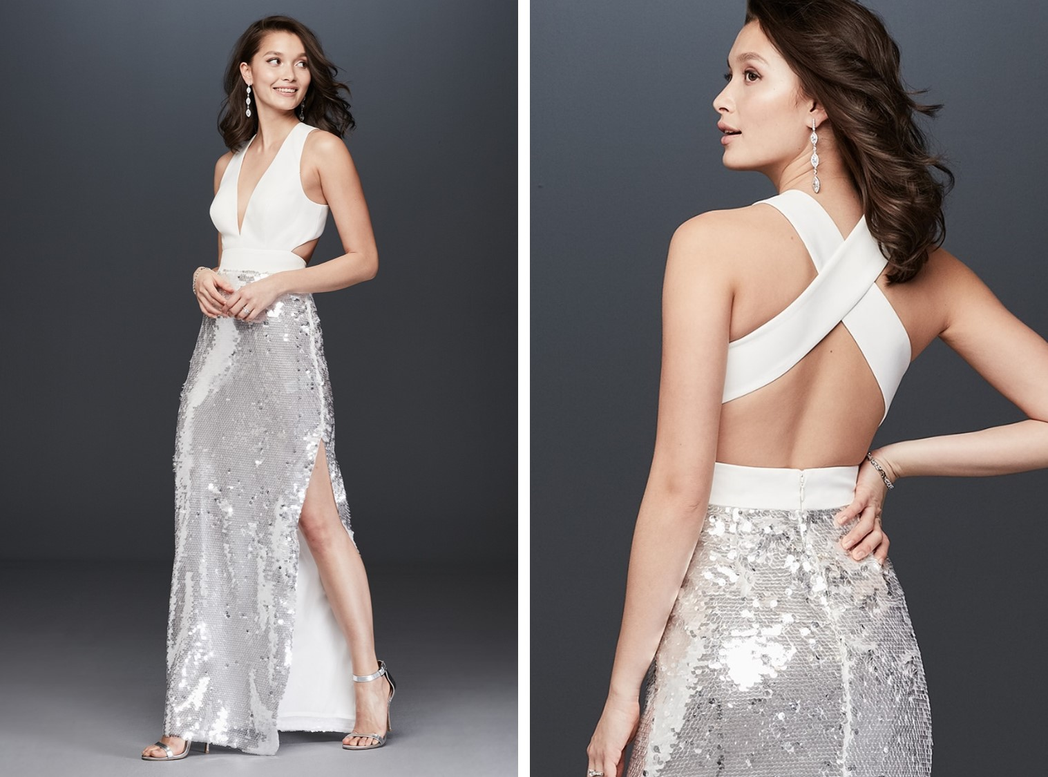 Bride in long dress with silver sequin skirt and criss-cross back | After-party dresses from David's Bridal