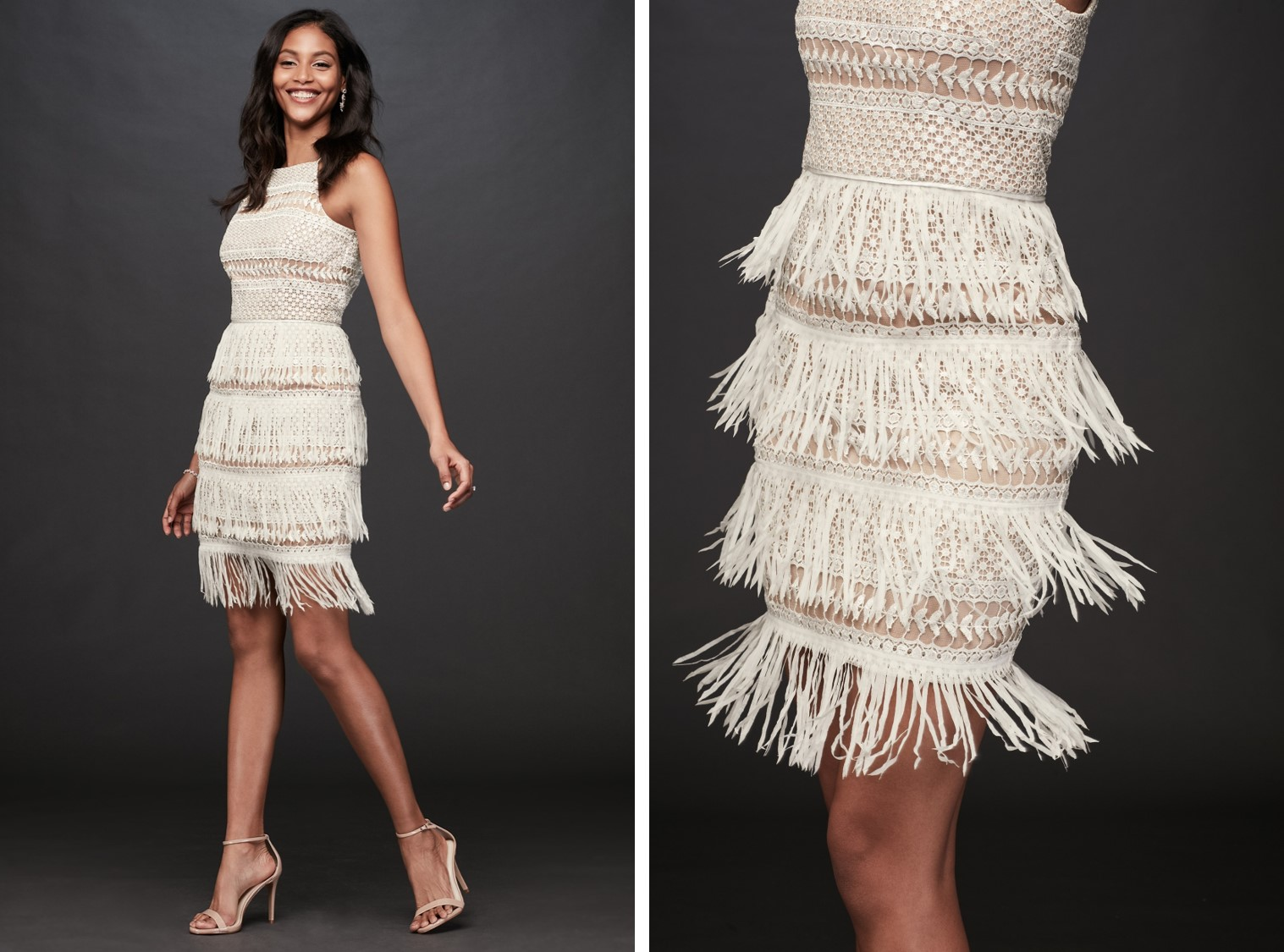 Bride in crochet and fringe nude and white mini dress | After-party dresses from David's Bridal