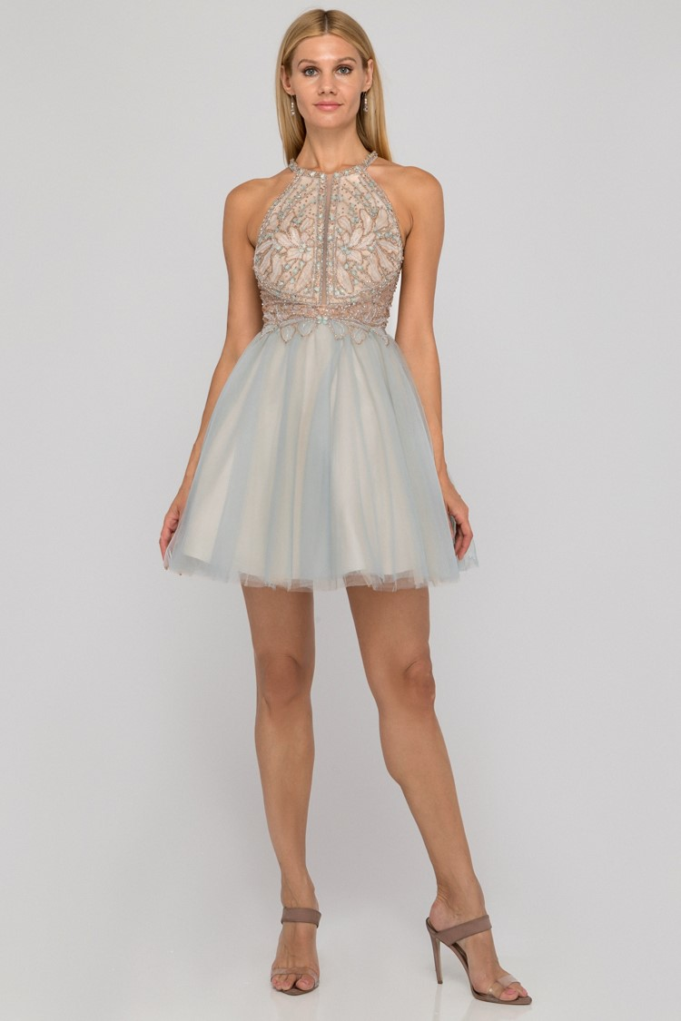 Girl in short blue and nude beaded homecoming dress